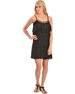 Miss Me Women's Black Lace Ruffle Dress, , hi-res