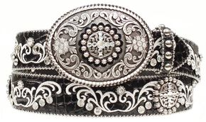 Ariat Croc Print Embroidered Bling Belt, Black, hi-res