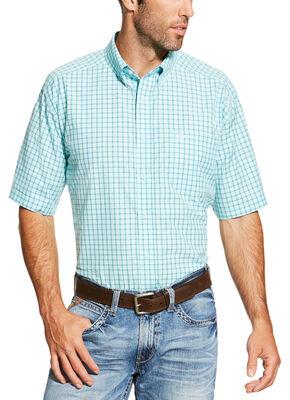Ariat Men's Aqua Norrington Short Sleeve Shirt , Aqua, hi-res