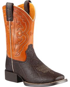Ariat Boys' Quickdraw Chocolate Elephant Print Cowboy Boots, , hi-res