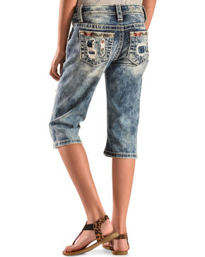 Miss Me Girls' Patchwork Denim Capris , Indigo, hi-res