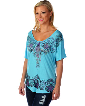 Liberty Wear Women's Floral Rhinestone Studded Top, Aqua, hi-res