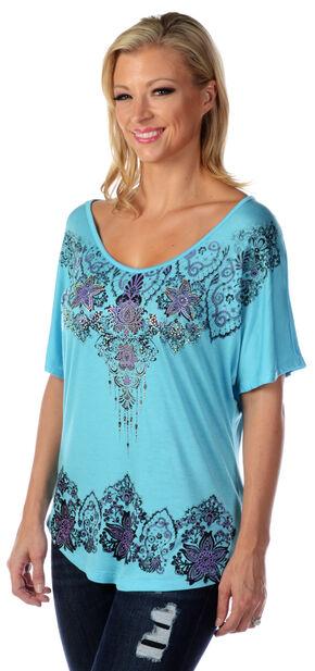 Liberty Wear Women's Floral Rhinestone Studded Top - Plus, Aqua, hi-res