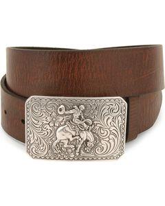Nocona Bronco Buckle Leather Belt - Reg & Big, , hi-res