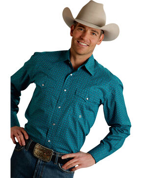 Roper Men's Amarillo Collection Turquoise Print Snap Long Sleeve Shirt, Turquoise, hi-res