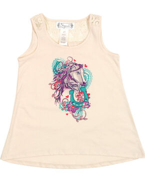 Shyanne Toddler Girls' Horse Graphic Tank Top, White, hi-res