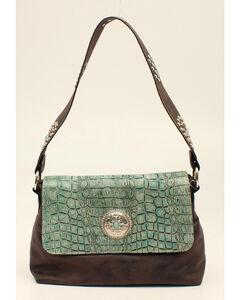 Blazin Roxx Women's Turquoise Croc Print Shoulder Bag with Flap, , hi-res