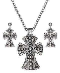 Montana Silversmiths Scrolling & Beaded Cross Necklace & Earrings Set, , hi-res