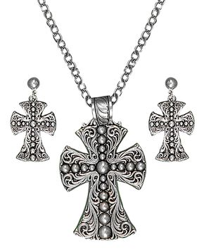 Montana Silversmiths Scrolling & Beaded Cross Necklace & Earrings Set, Silver, hi-res