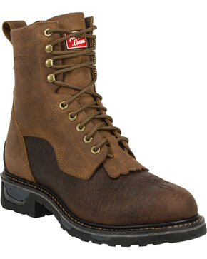 Tony Lama Men's Sierra Badlands TLX Western Work Waterproof Boots - Round Toe, Brown, hi-res