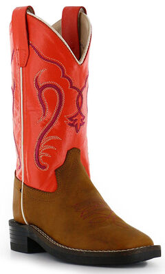 Cody James Boys' Orange Western Boots - Square Toe, , hi-res