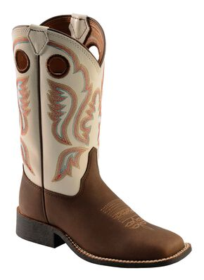Justin Youth Boys' Chocolate Embroidered Cowboy Boots - Square Toe, Chocolate, hi-res