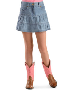 Ely Girls' Tiered Denim Skirt - 4-12, , hi-res