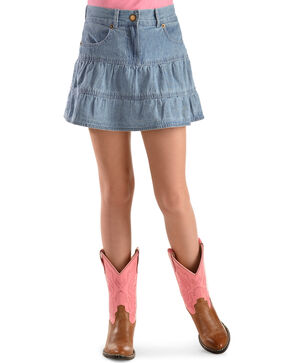 Ely Girls' Tiered Denim Skirt - 4-12, Light Stone, hi-res