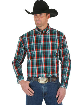 Wrangler George Strait Men's Emerald Plaid Shirt, Green, hi-res