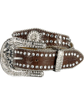 Nocona Girls' Scallop Concho Rhinestone Belt - 18-26, Brown, hi-res
