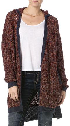 Miss Me Women's Burgundy Hooded Cardigan , , hi-res