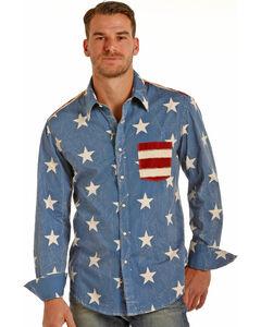 Rock & Roll Cowboy Men's Stars and Stripes Long Sleeve Snap Shirt, , hi-res