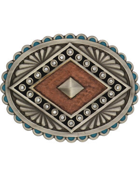 Rock 47 by Montana Silversmiths Points of Aztec Copper Pyramid Attitude Buckl, Antique Silver, hi-res