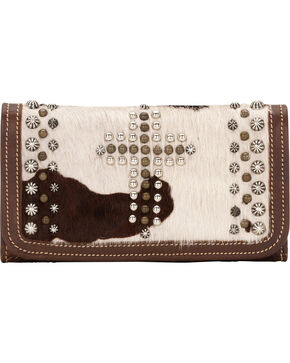 American West Women's Home on the Range Leather Tri-Fold Wallet, Multi, hi-res