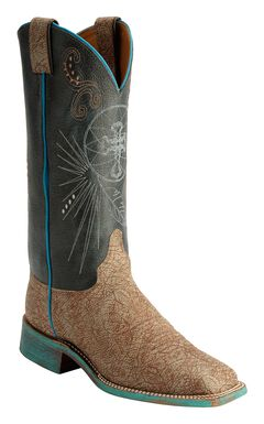 Justin Bent Rail Cross Stitched Sky Blue Cowgirl Boots - Square Toe, , hi-res