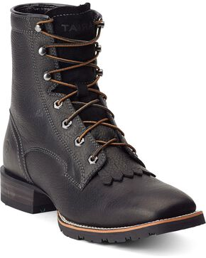 "Ariat Hybrid 8"" Lace-Up Rancher Boots - Square Toe, Black, hi-res"