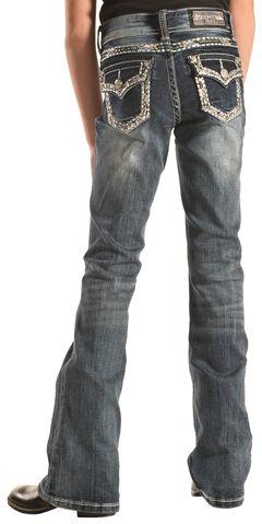 Grace in LA Girls' Heavy Stitch Flap Pocket Bootcut Jeans , , hi-res