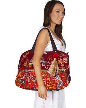 Scully Women's Embroidered Oversized Cranberry Tote Bag, Cranberry, hi-res