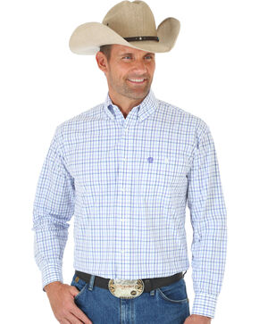 Wrangler George Strait Purple & White Plaid Western Shirt , Purple, hi-res