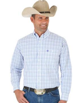 Wrangler George Strait Purple & White Plaid Western Shirt , Purple, hi-res
