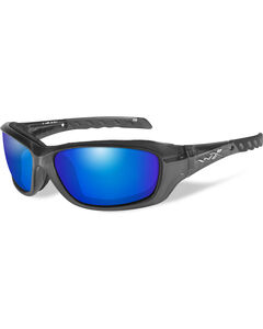 Wiley X Gravity Blue Mirror Black Crystal Sunglasses , , hi-res