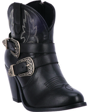 Dingo Bridget Women's Double Buckle Boots - Round Toe, Black, hi-res