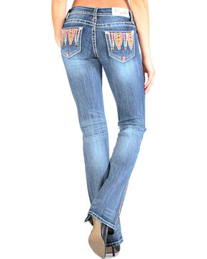 Grace in LA Women's Bright Embroidery Jeans - Boot Cut , Medium Blue, hi-res