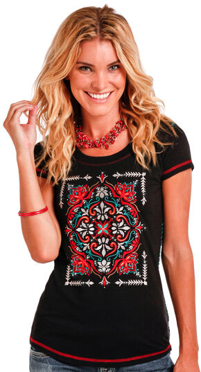Panhandle Slim Women's Black Floral Medallion Embroidery Tee , Black, hi-res