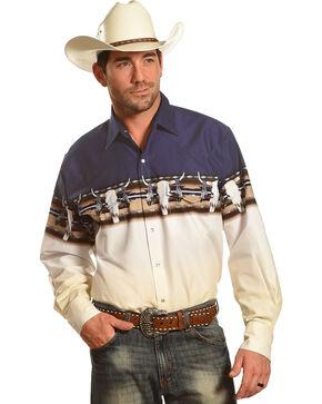 Cumberland Outfitters Men's Navy Skull Border Print Shirt - Big and Tall , Navy, hi-res