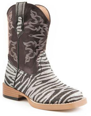 Roper Infant Girls' Glittery Zebra Print Cowgirl Boots, Zebra, hi-res