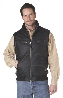 Cripple Creek Zip Front Distressed Faux Leather Polyfill Vest - Black, , hi-res