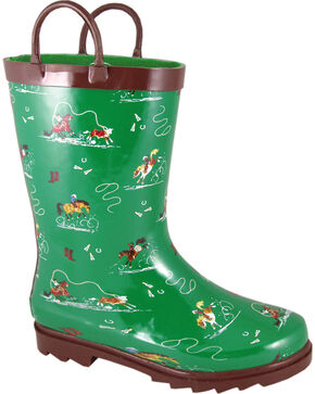 Smoky Mountain Boys' Rodeo Riders Waterproof Boots, Green, hi-res
