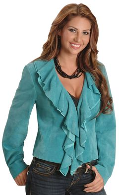 Scully Ruffled Suede Leather Jacket, , hi-res