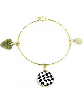 Jilzarah Black & White Gold Bangle, Blk/white, hi-res