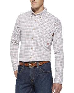 Ariat Flame Resistant Gauge White Plaid Work Shirt, , hi-res