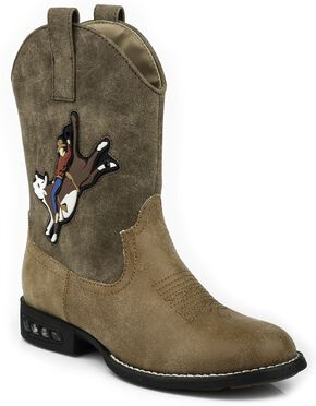 Roper Boys' Light Up Bull Rider Cowboy Boots - Round Toe, Brown, hi-res