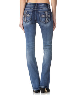 Miss Me Women's Indigo Cross Pocket Jeans - Boot Cut , Indigo, hi-res