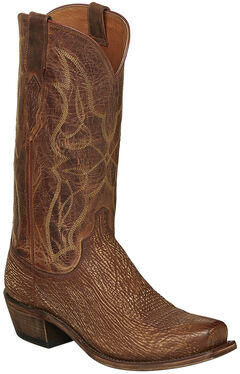 Lucchese Cognac Carl Sharkskin Cowboy Boots - Narrow Square Toe , , hi-res