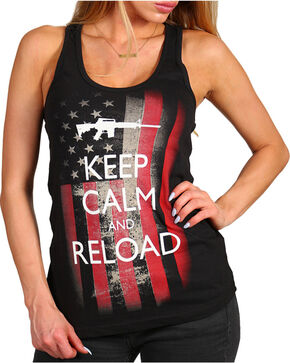 Brothers & Arms Women's Keep Calm and Reload Tank, Black, hi-res