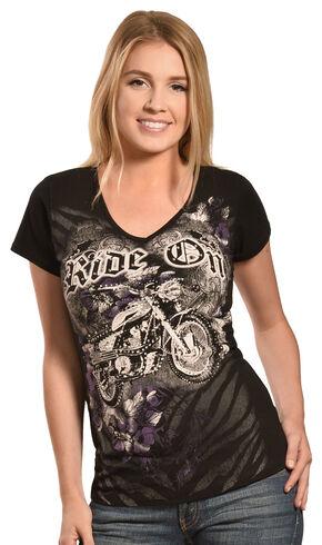 Liberty Wear Women's Black Ride On Free T-Shirt , Black, hi-res