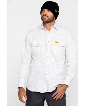 Wrangler Men's Western FR Long Sleeve Plaid Snap Shirt - Tall, White, hi-res