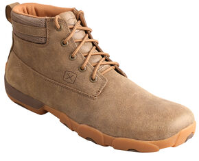Twisted X  Men's Lace-Up Brown Driving Mocs, Bomber, hi-res