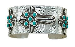 Montana Silversmiths Hammered Turquoise Cabochons Cross Bracelet, , hi-res