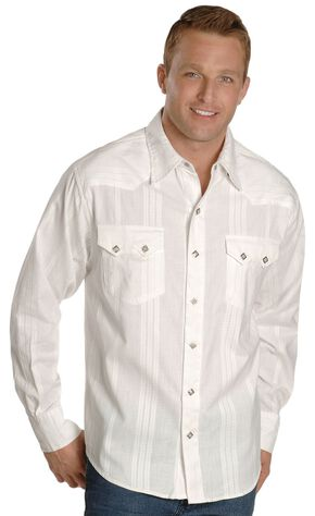Scully White Dobby Striped Western Shirt, White, hi-res